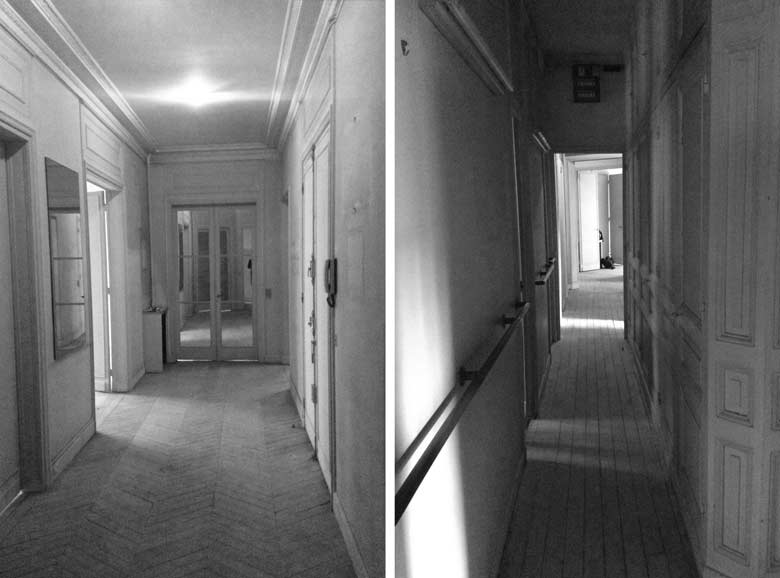 Photo du couloir avant les travaux de rénovation de l'appartement haussmannien