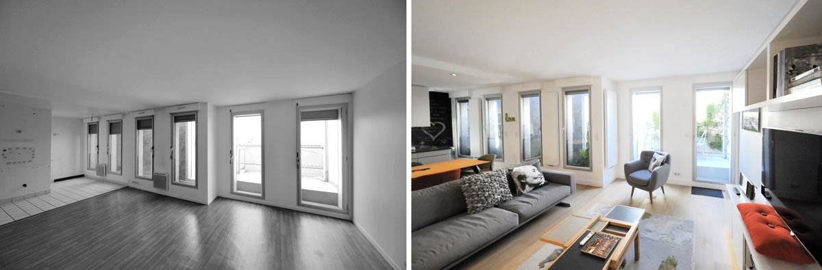 Am nagement d 39 un appartement contemporain 4 pi ces 85m2 for Sejour cuisine 35m2