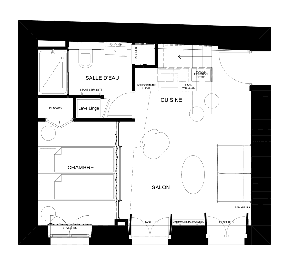 plan transformation studio en appartement 2 pieces