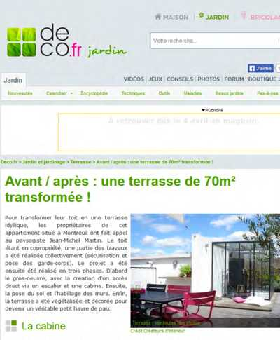 Article de presse sur la transformation d'une terrasse de 70m2