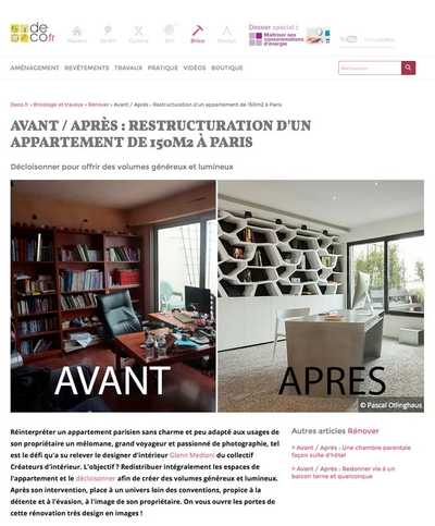 Article sur la restructuration d'un appartement de 150m2 à Paris